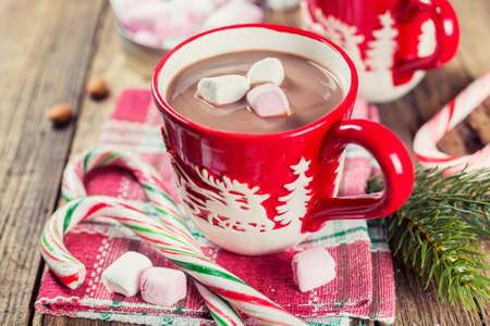 christmas meal: Christmas hot chocolate with marshmallows. Selective focus