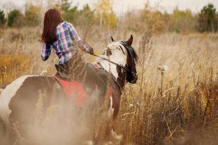 Brunette Young Woman  on horseback. Selective focus