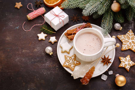 chocolate cookies: Christmas background with homemade gingerbread cookies and hot chocolate, top view. Christmas Holiday background  and free text space