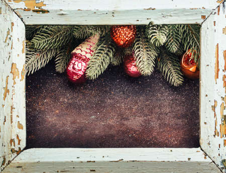 Vintage frame with Christmas decoration. Christmas Holiday background  and free text space