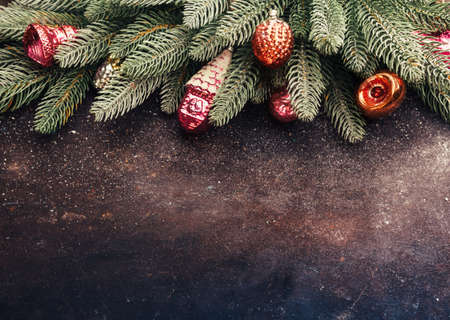 Vintage Christmas holidays background with copyspace. Top view, horizontal.