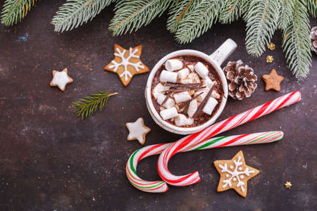 Christmas Holiday background with homemade gingerbread cookies and hot chocolate and candy canes. View from above