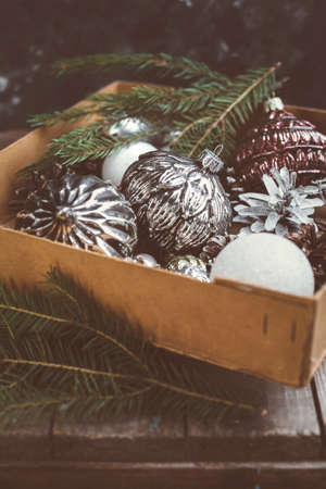 ornamentals: Old Christmas ornamentals in the box Close-up. Christmas Holiday background. Stock Photo