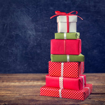 gift boxes: Christmas background with gift boxes. Close up