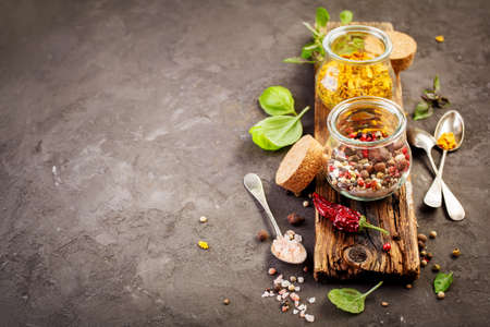 pepper: Spice mix and ingredients for cooking