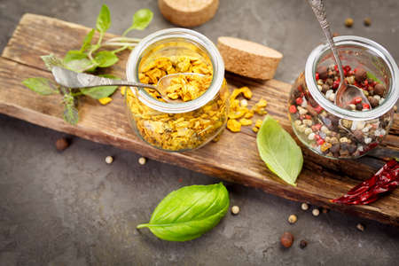 indian cookery: Pepper spice mix. Food and cuisine ingredients, Top view,  Selective focus. Stock Photo