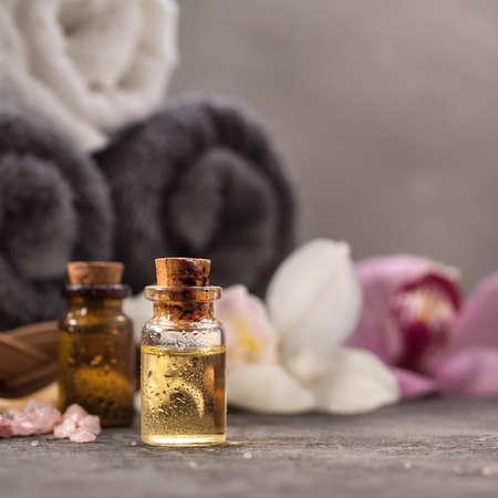 Massage oil closeup. SPA background. Shallow DOF