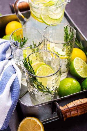Summer refreshing beverage with citrus, cucumber and rosemary. Refreshing drinks