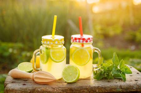 limonada cítricos en configuración de jardín, Bebida refrescante de verano con la menta. Poca profundidad de campo