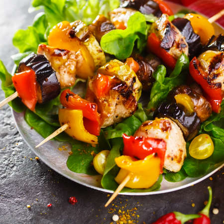 Grilled skewers of chicken and vegetables. Shallow DOF