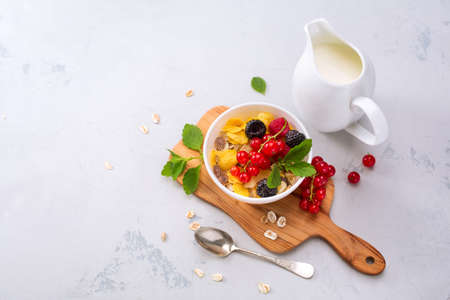 red currants: Delicious granola with berries and milk. Healthy breakfast. View from above
