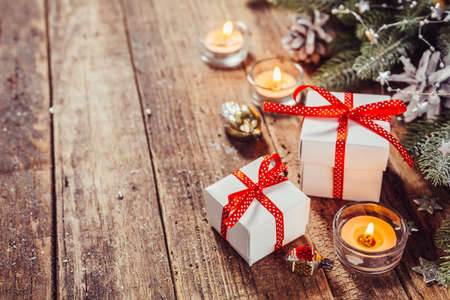 Vintage Christmas background with Christmas Gifts. Holidays background Stock Photo