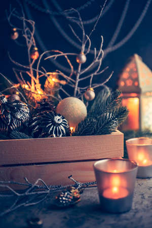 Decorations for Christmas and New Year, christmas balls, candles. Shallow depth of field 免版税图像