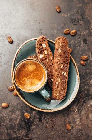 espresso: Espresso Coffee and Traditional Italian Biscotti Cantuccini. Top view. Stock Photo