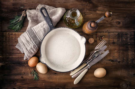 recipe background: Empty cast iron skillet
