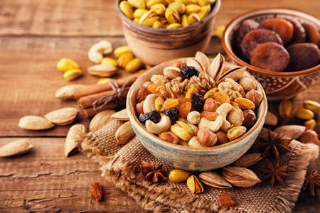 Mix of nuts and dried fruits Stock Photo - 73297474