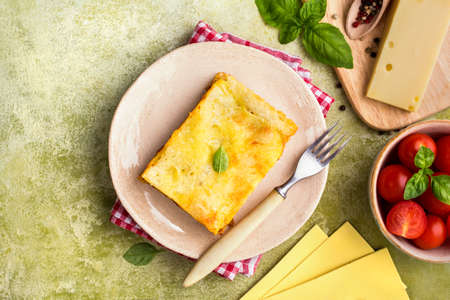 Homemade meat lasagna with meat sauce and tomato, traditional Italian pasta Stock Photo