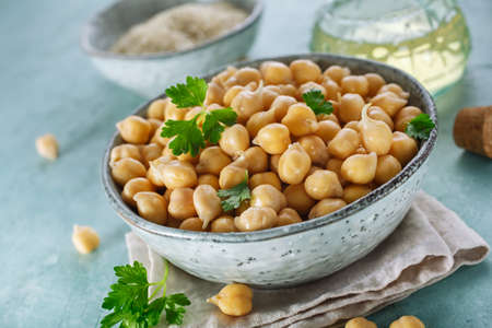 Sprouted chickpeas in the bowl. Concept for healthy eating and nutrition. Stock Photo
