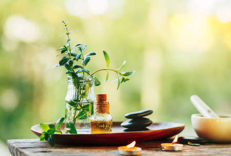 Beautiful spa composition with natural mint essential oil in the open air. Stock Photo