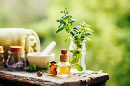 Spa still life with essential oil, fresh peppermint and towel on wooden background outdoors. Stock Photo