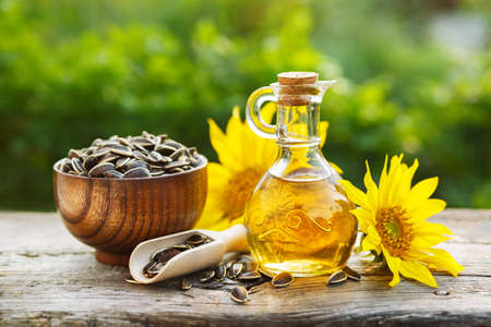 Organic sunflower oil Stock Photo