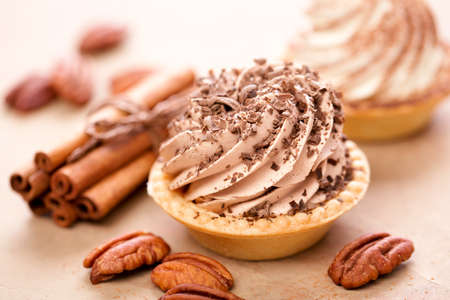 Delicious tartlets with cream Banco de Imagens