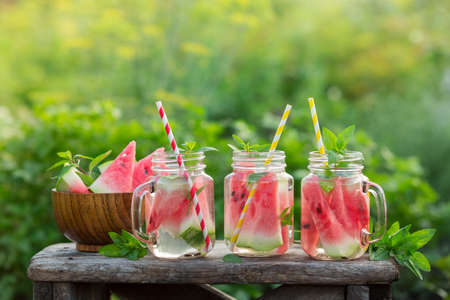 Refreshing Summer Detox Cocktail of Watermelon. Concept for healthy eating and nutrition Stock Photo - 84997976
