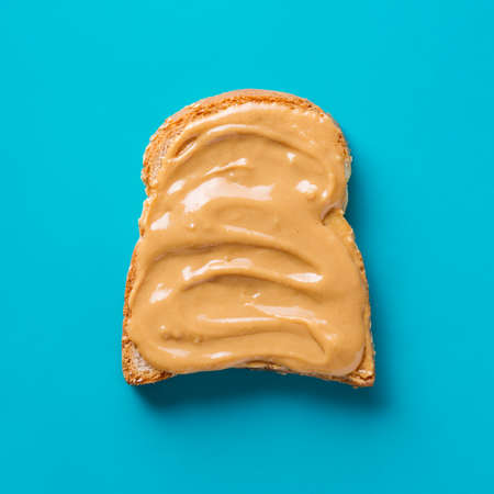 Delicious Toast with peanut butter, close up Stock Photo