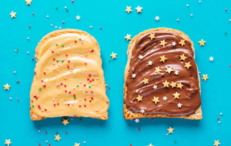 Toasts with peanut and chocolate butter.