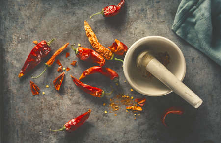 Red Hot Peppper with mortar and pestle