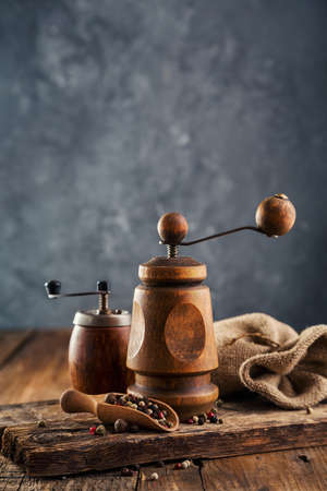 Wooden pepper-mills. 免版税图像