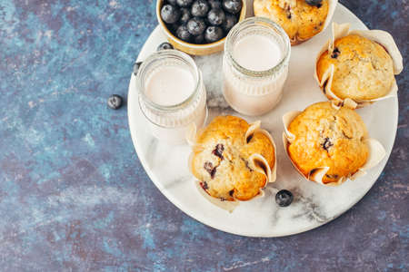 Homemade muffins with blueberries and yogurt Stock fotó