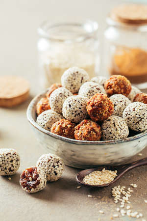 Healthy energy balls made of dried fruits and nuts.