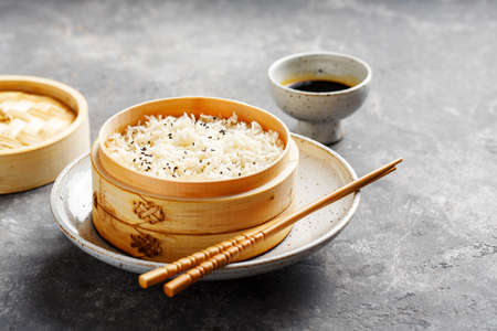 Rice in bamboo steamer