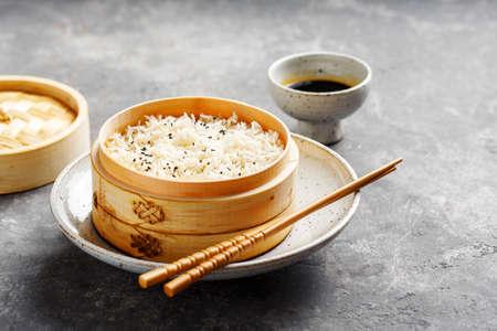 Rice in bamboo steamer