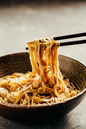Soba noodles in a bowl