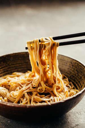 Soba noodles in a bowl