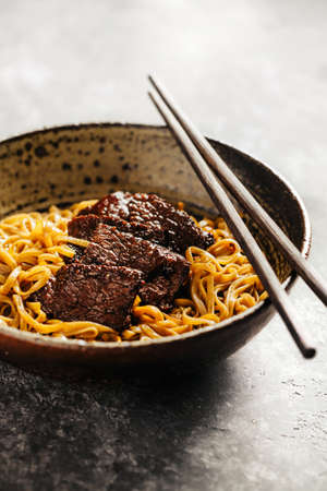 Soba noodles with beef Stock Photo