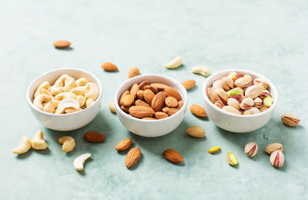 Varieties of nuts cashew, pistachio, almond Health concept