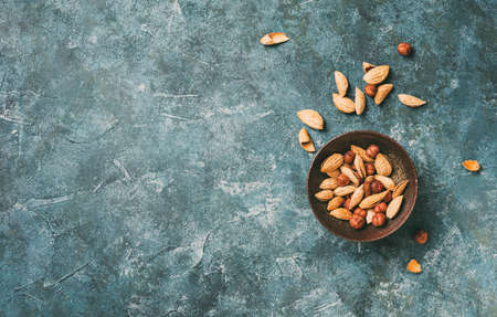 Fresh organic nuts, almonds and hazelnut.
