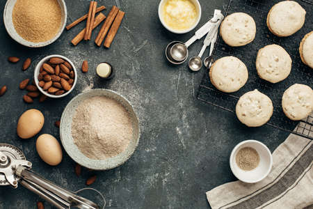 Delicious homemade almond cookies and baking ingredients. Food background with copy space. Фото со стока