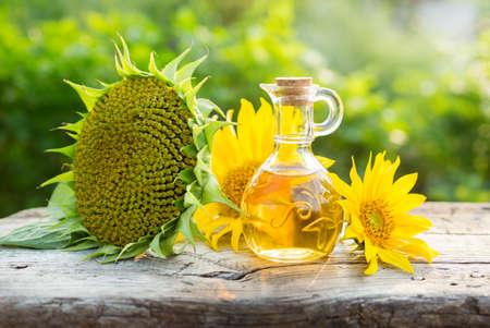 Organic sunflower oil Stock Photo
