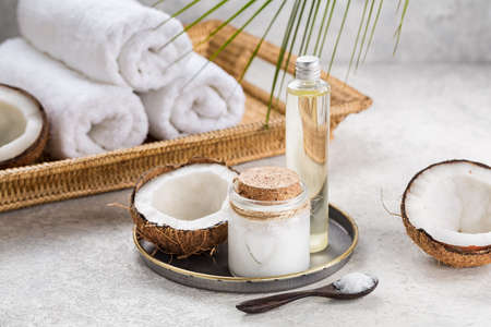 Natural coconut oil for body care. Spa composition.