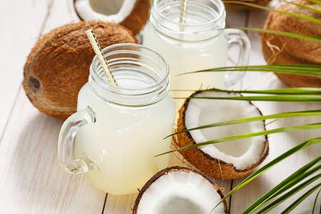 Refreshing coconut water in jars