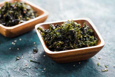 Seasoned Seaweed Snack. Close-up.