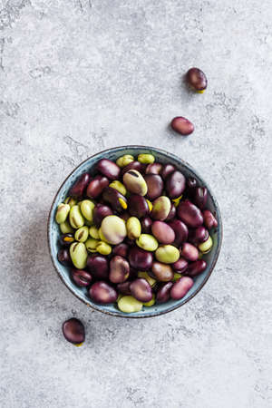 Raw organic broad beans in bowl. Healthy food Stok Fotoğraf