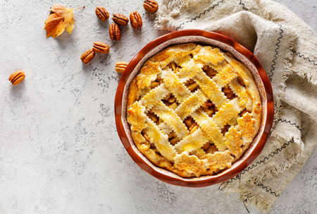 Apple Pie with Lattice Crust., Top view. Food background with copy space. 스톡 콘텐츠
