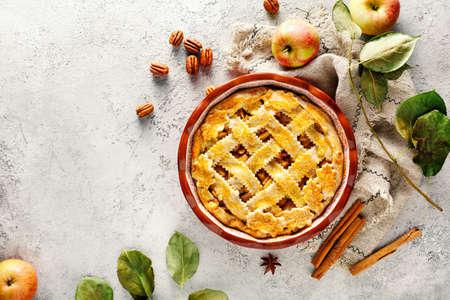 Torta di mele autunnale appena sfornata, vista dall'alto. Sfondo di cibo con copia spazio.