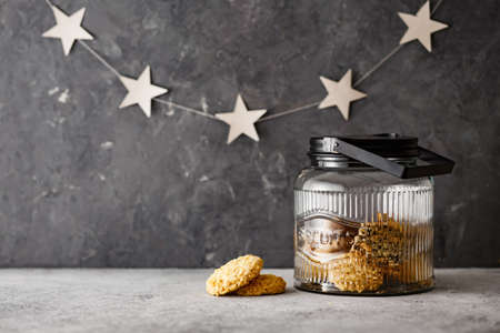 Homemade biscuits in a big jar. Stock Photo
