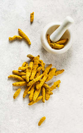Turmeric dried roots Stock Photo